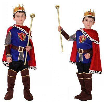 Halloween Boy Medieval Renaissance Prince King Costume Arthur Cosplay Kids Child