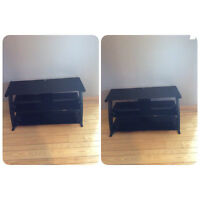 Black Glass TV Stand With 3 Shelves - St. Thomas