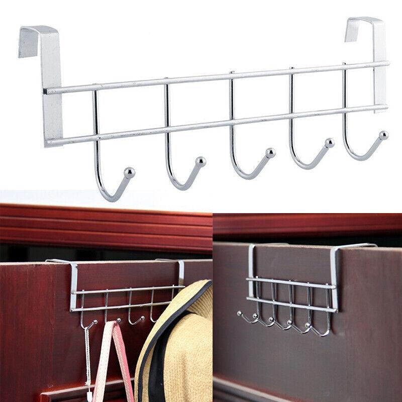 5 Hooks Stainless Steel Bathroom Towel Clothes Kitchen Door