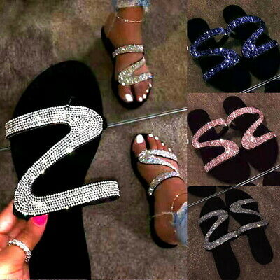 Womens Bling Rhinestone Sandal Shoes Summer Flat Open Toe Slides Slipper Shoes ❥