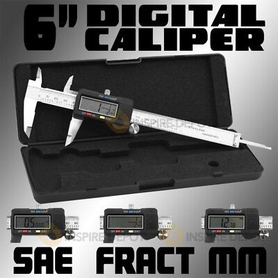 6 Stainless Electronic Lcd Digital Vernier Caliper Micrometer Sae And Metric