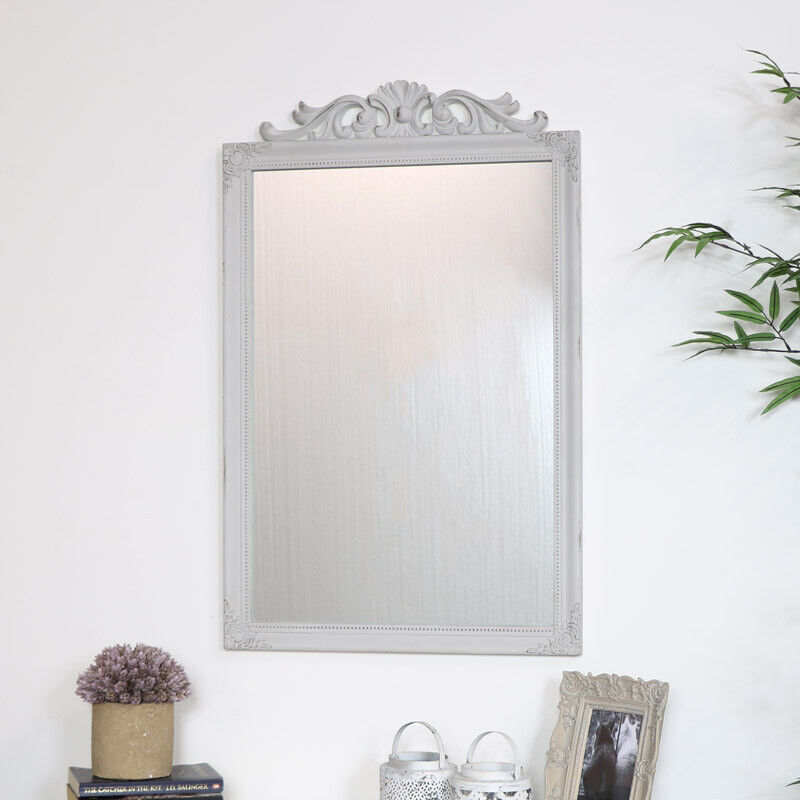 Ornate Vintage Taupe Wall Mirror grey shabby chic country mounted home decor