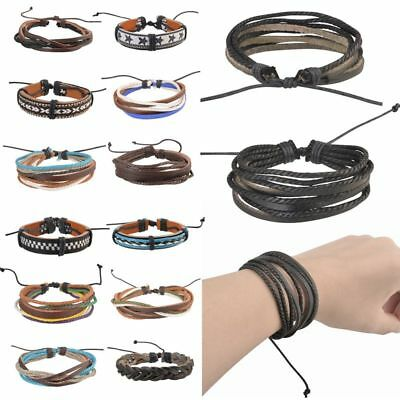 Fashion Handmade Genuine Leather Bracelets For Men Punk Surfer Braided Bracelets