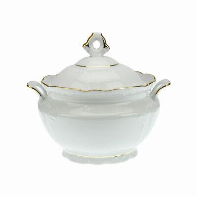 Porcelain Soup Tureen Bowl with handles 3L Gold Rimmed Fine Large Serving Stew Gold-rimmed Soup Bowl