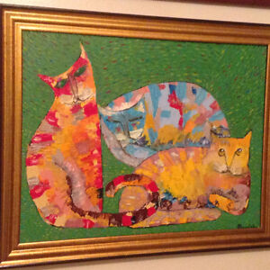 Oil Canvas With Frame Signed Three Cats