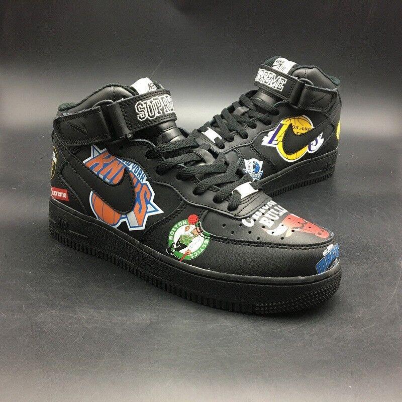807e93441525 Nike Air Force Supreme x NBA x Nike Air Force 1 Mid Bull - Black