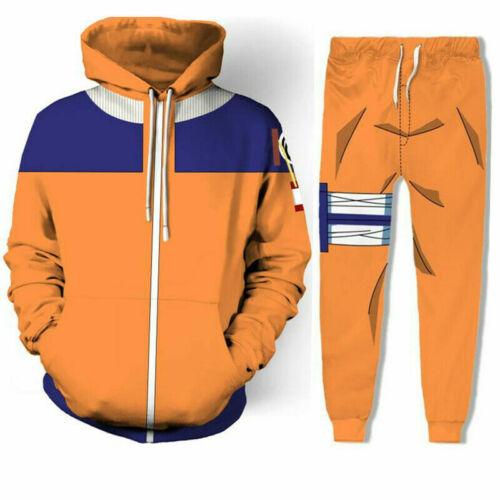 Naruto Shippuden Cosplay Hoodie Sweatshirt Jacket+Pant Costume Tracksuit -L Size