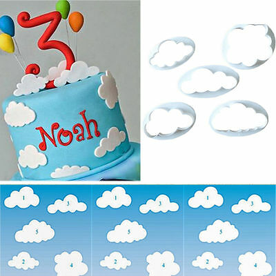 5PC Cloud Plastic Fondant Cookie Cutter Cake Mold Moulds Cake Decorating Tool CN