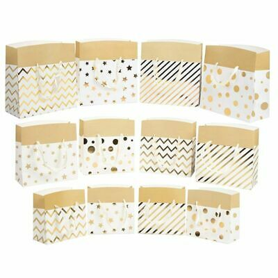 12-Pack Metallic Gold Foil Gift Wrap Bags Wedding Party Favor Supplies 3 Sizes Metallic Gift Bag