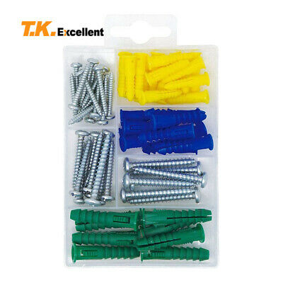 Plastic Self Drilling Ribbed Drywall And Wall Anchors With Screws Kit66 Piece