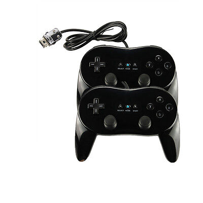 2 x NEW Classic Pro Remote Controller for Nintendo Wii Black US Ship