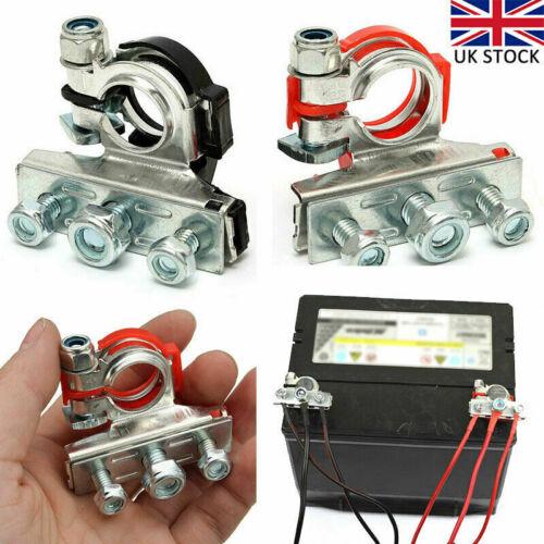 Car Parts - 2pcs 12V Battery Terminals Connectors Clamps 3 Way Kit For Caravan Car Van UK