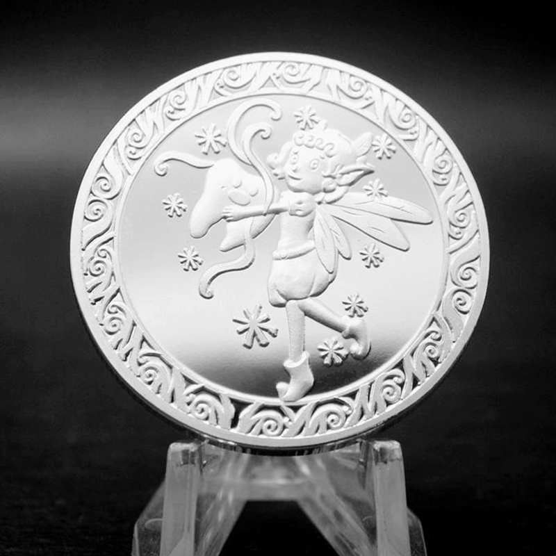 Tooth Fairy Gift Silver Plated Commemorative Coin Creative Kids Tooth Change