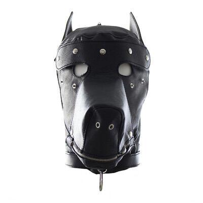LEATHER GIMP DOG Puppy Hood Full Mask Mouth Costume Party Mask ZIPPED - Dog Mask Leather