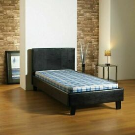 Furniture for life-(3ft) Single Size Leather Bed Frame With Opt Mattress-chest of drawers