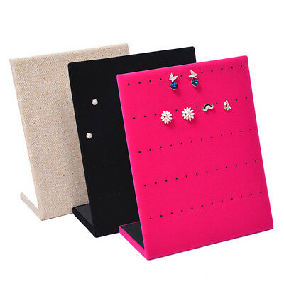 Jewelry Earring Display Velvet Holder Stand Shelf Show Case Organizer Tray