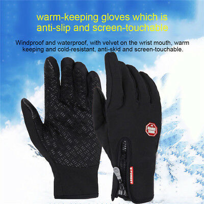 (Men Women Winter Thermal Touch Screen Gloves Outdoor Sport Ski Gloves Waterproof)