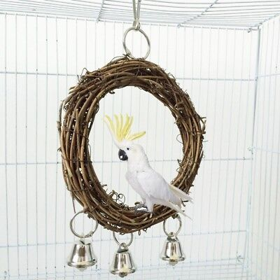Natural Rattan Bird Ring Perch Swing For Bird Cage For Small Parakeets