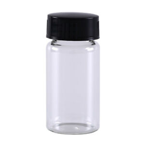 1pcs 20ml small lab glass vials bottles clear containers with black screw capEP