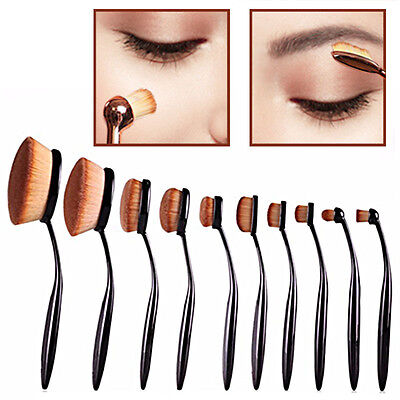 10 PCS Toothbrush Oval Elite Make Up Brushes Set Powder Contour Rose Foundation