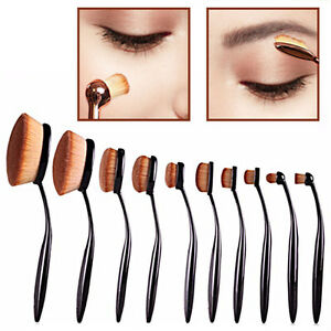 10-PCS-Toothbrush-Oval-Elite-Make-Up-Brushes-Set-Powder-Contour-Rose-Foundation