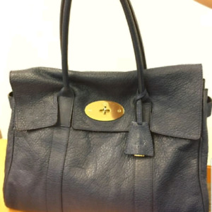 Mulberry Bayswater Navy Blue Tote in Lambskin