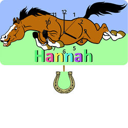 Personalised Horse Childrens Wall Clock, Pendulum Clock, Gifts for Children