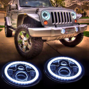 7 Inch 45w Jeep Wrangler LED Headlights with White/Amber Angel
