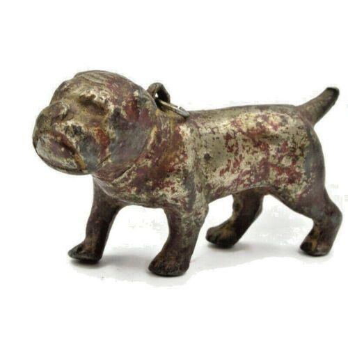 Vintage Solid Metal Lead Miniature Bulldog Dog with Loop