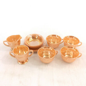 Fire King Lusterware Peach Swirl Luster Milk Glass 10 Piece Set