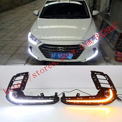 2x LED Daytime Running Lights Fog Lamp w/Turn Signal For Hyundai Elantra 2016-17