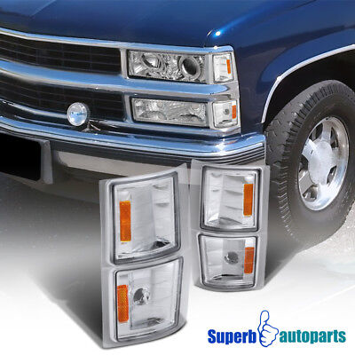 1994-1998 Chevy C10 Pickup Corner Lights Chrome/ Clear Signal Lamps Replacement ()