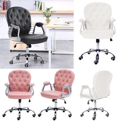 Leder Computer Schreibtisch Stuhl (Kunstleder Computer Stuhl Bürostuhl Drehstuhl für Büro Schreibtisch -Weiß & Rosa)