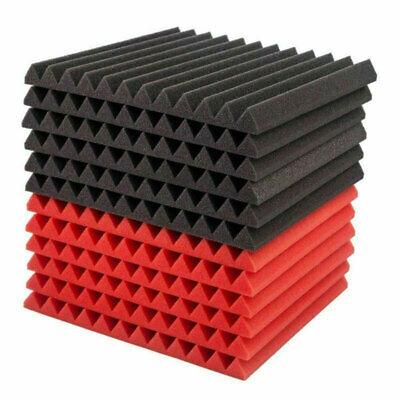 48 Pcs Acoustic Foam Panels Wedges Studio Soundproofing Wall Tiles Audio Room US