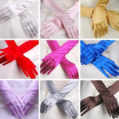 Women Long Wedding Lace Satin Bride Gloves Fingerless Party Bridal Dress - Dress Gloves
