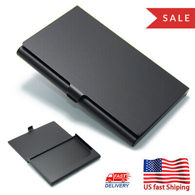 Business Card Holder Professional Aluminum Alloy Name Card Case Black Wallet Eb