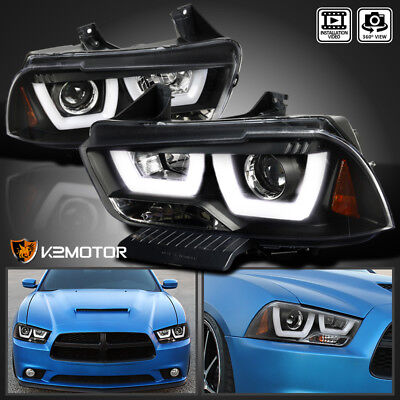 For 2011-2014 Dodge Charger Black Dual LED Strip Halo Projector Headlights Pair
