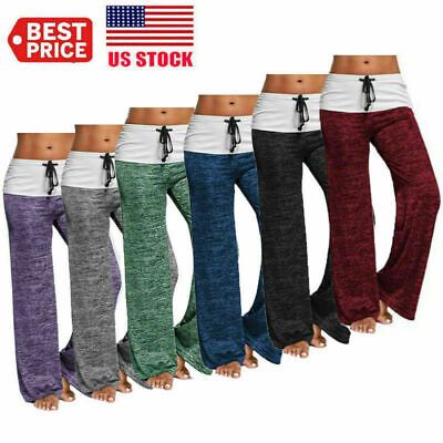 Plus Size Women Casual Athletic Pants Loose Baggy Wide Leg Yoga Long Trousers US - Plus Size Bloomers