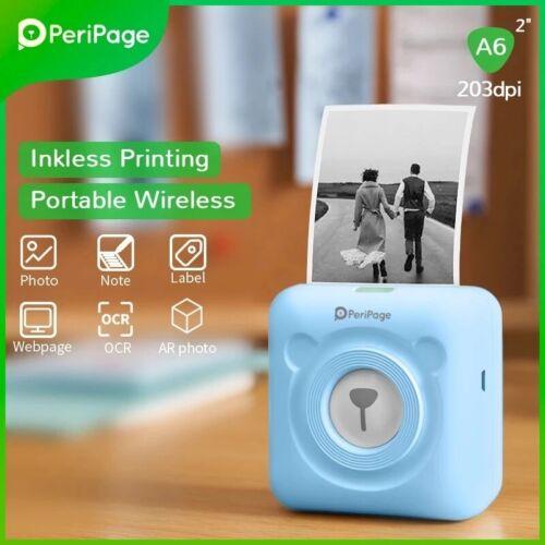 Mini Printer Label Printer 203dpi Picture Photo Receipt Bluetooth Wireless A6