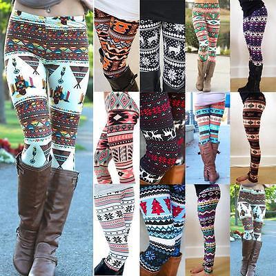 Women Girl Snowflake Reindeer Leggings Skinny Pencil Pants Trousers XMAS Gift