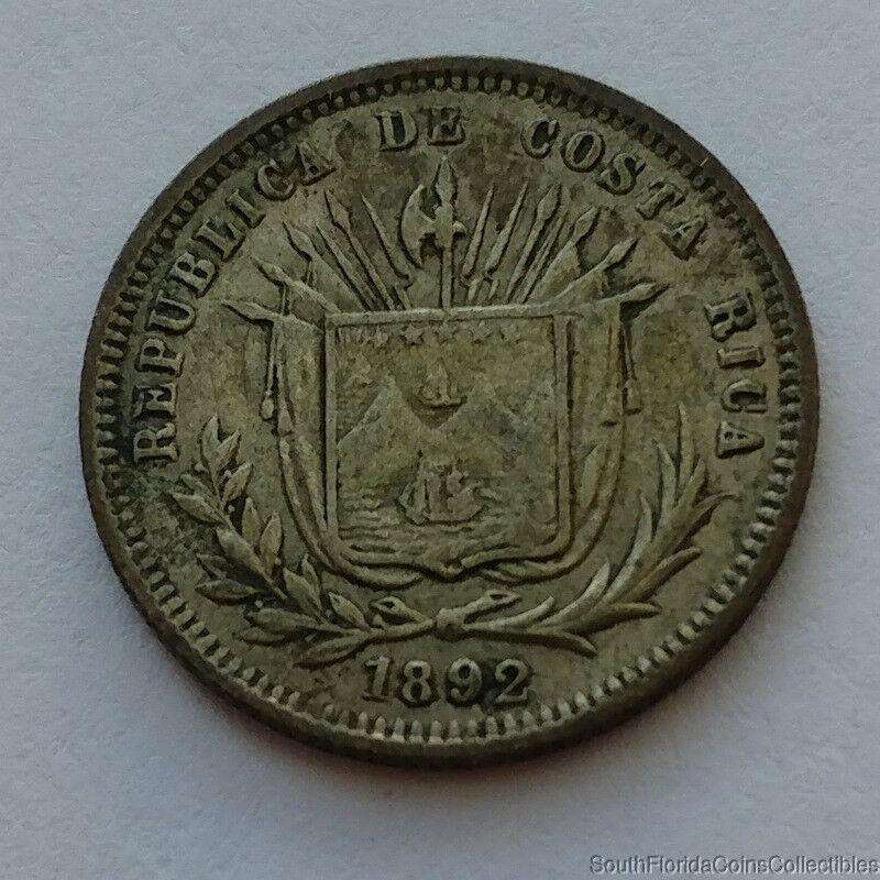1892 Costa Rica 5 Centavos .750 Silver Coin