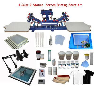 4 Color 2 Station Silk Screen Printing Kit Shirt Diy Material Exposure Unit