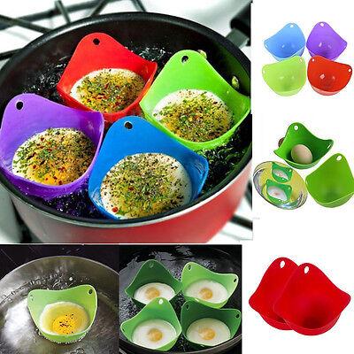4Pc Egg Poacher Cookware Cook Poach Kitchen Tool Poached Baking Cup Random Color