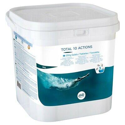 Cloro para piscina Gre 10 Actions pastillas multiaccion 250g 5 Kg Gre...