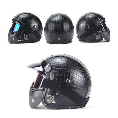 Vintage Motorcycle Bike Helmets 3/4 Open Helmet PU Leather + Goggle Mask Anti-UV