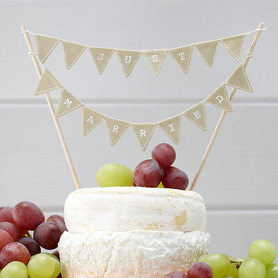 VINTAGE STYLE MINI CAKE BUNTING JUST MARRIED, RUSTIC WEDDING CAKE DECORATION