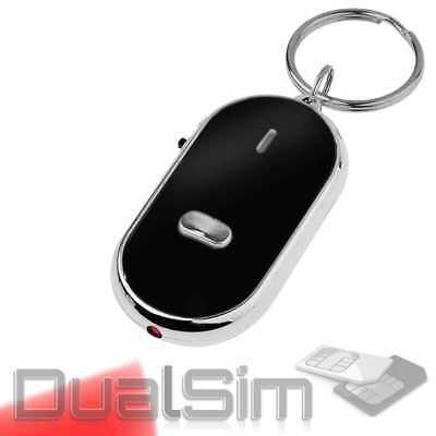 Schlüsselfinder + LED Taschenlampe Schlüssel Key Finder Anhänger Pfeifen Schwarz