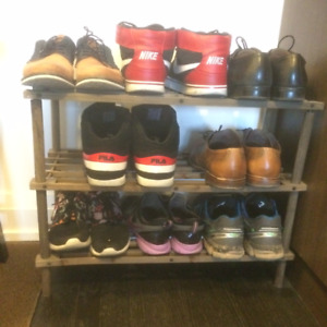 Brown Shoe Rack 3 Multi-Level Display Shelf Boots MOVING SALE