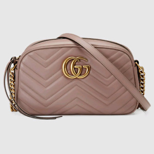 Authentic Dusty Pink Gucci Marmont Small Camera Bag
