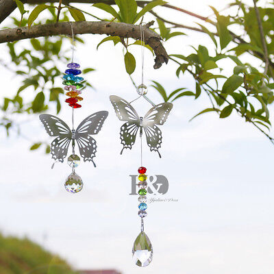 2 Type Butterfly Hanging Crystal Prisms Suncatcher Car Mirror Window Decor Gift - Butterfly Suncatcher